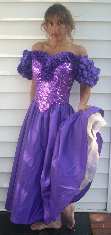 Vintage 1980 s purple sequin prom dress xs s 0 2 4 by flashbax