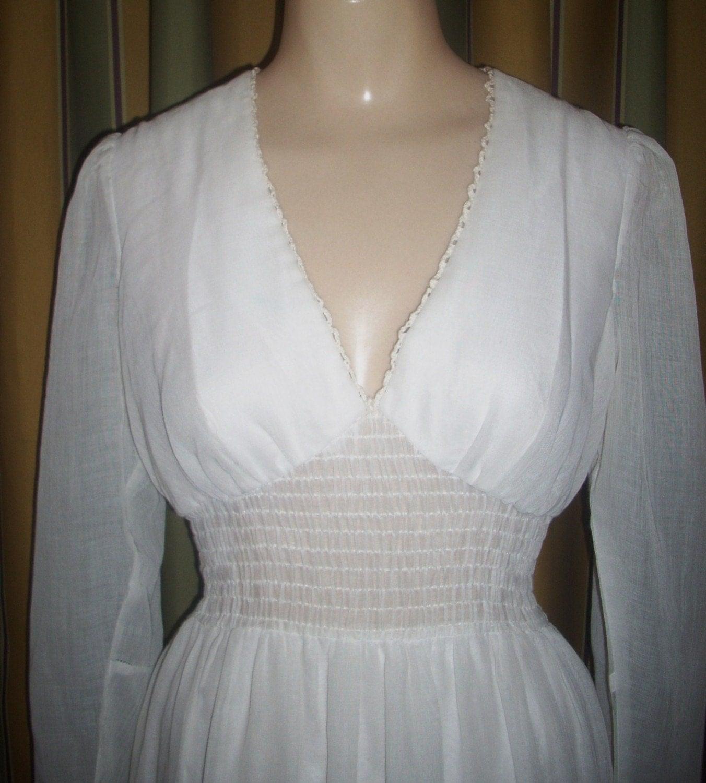 Vintage Boho Wedding Prairie Dress f White COTTON Smocked