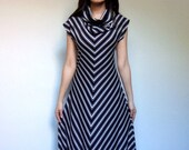 Vintage Striped Maxi Dress Chevron 70s Black White M