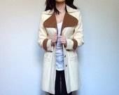 Riding Jacket Coat Cream Tan Fall Fashion Vintage Equestrian Jacket Spring 70s - Small S