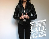 Black Leather Jacket Vintage Fitted Coat Motorcycle XS/ S