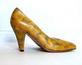 RESERVED: Vintage size 6.5 High Heels Mustard Yellow Pumps Colorful Shoes Summer Fashion Office Fashion