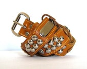 Studded Leather Belt Vintage Boho Hippie Ochre Unisex 30