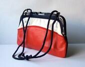 Vintage Nautical Purse Clutch Color Block Bag 70s Red White Blue