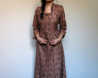 1950s Lace Skirt Suit Vintage 2pc Dress Brown Champagne 50s Two Piece Dress Lace Dress - Large L