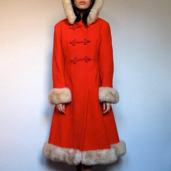 Vintage red Russian Princess Dress Coat wool Fur by MidnightFlight
