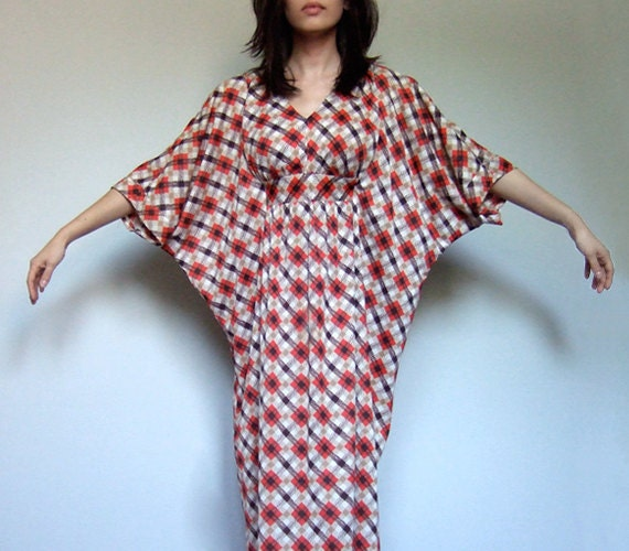 Vintage 70s Maxi Kaftan Dress Plaid Pattern Xs S M