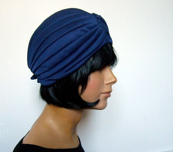 Vintage 60s Turban Hat Head Piece Midnight Blue