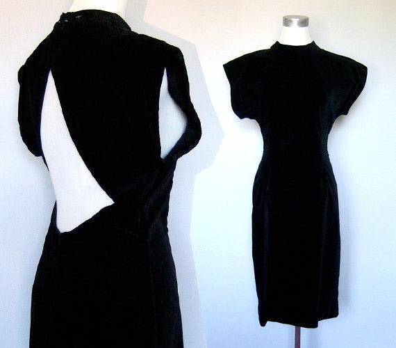 Vintage 80s Dress Cutout Velvet Black Open Back S/ M