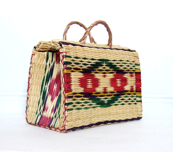 Woven Straw Bag Tote Summer Fashion Southwestern Navajo Patterned Basket Beach Bag
