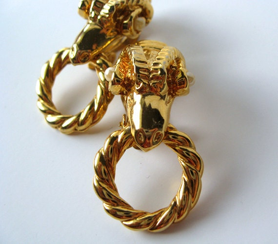 Rams Head Earrings Aries Zodiac Jewelry Animal Earrings Gold Doorknocker Earrings Clip Ons