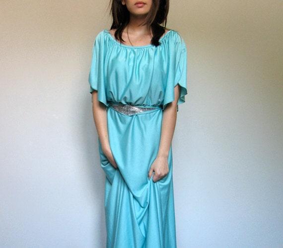 Mint Maxi Dress Pastel Green Silver Beading Goddess Gown 70s Weddings Summer Fashion Long Dress - Large L