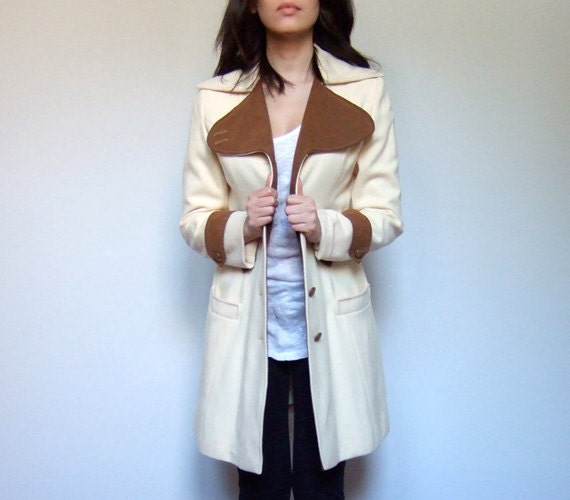 Riding Jacket Coat Cream Tan Fall Fashion Vintage Equestrian Jacket Spring 70s - Small S