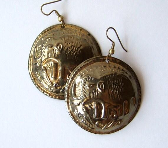 Vintage Tribal Earrings Gold Elephant Metal Large