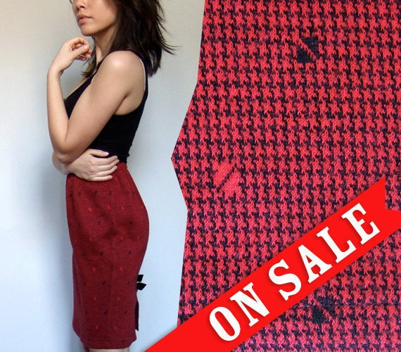 80s Houndstooth Skirt Vintage Comfy Casual Cotton Knee Length Red Black Fall Skirt Bow - Extra Small to Small XS S