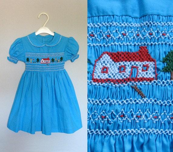 Blue Summer Dress Vintage 70s Smocked Collar Little Girl