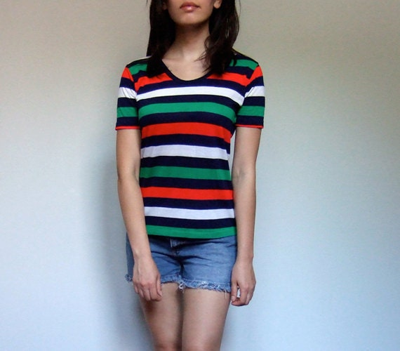 Striped Tee 70s Tshirt Tomboy Ringer Tee Summer Fashion - Extra Small. Small XS/ S