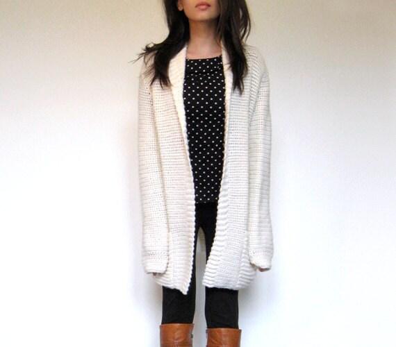 Vintage Oversize Sweater Cardigan Ivory 70s Knit S/ M/ L/ Xl