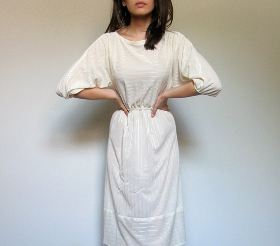White Summer Dress Sheer See Through Casual Striped Dress Spring Fashion Ivory - Extra Small XS