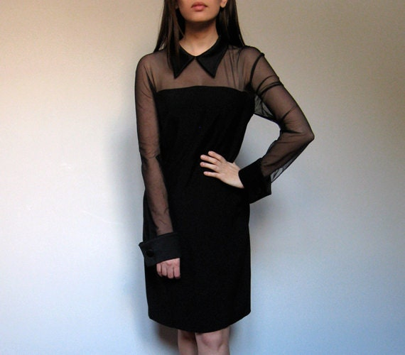 Black Collar Dress Sheer Vintage Party 80s Cocktail M/ L