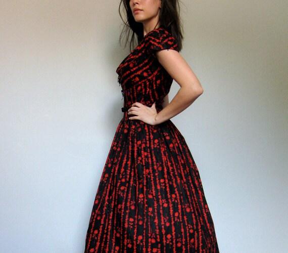 60s Day Dress Vintage Tea Length Dress Black Red Floral Full Circle Skirt Party Dress  - Medium. Large. M/ L