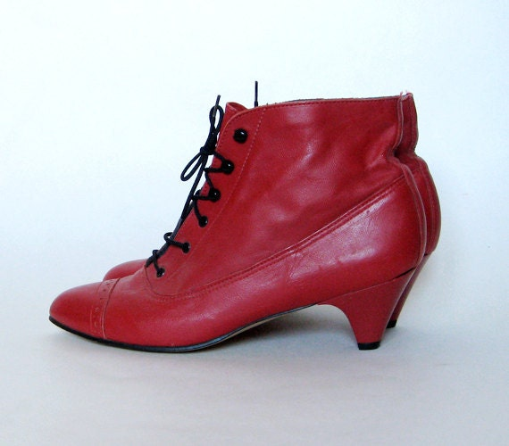 Vintage Ankle Boots Red Granny Booties Lace Up
