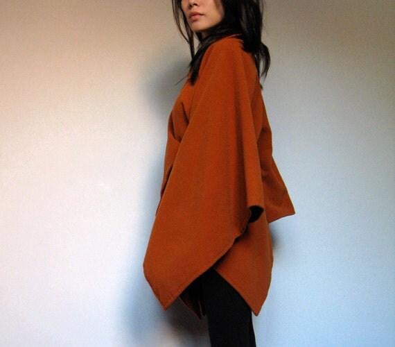 Vintage Orange Cape Poncho Coat Fleece Zipper XS/ S/ M