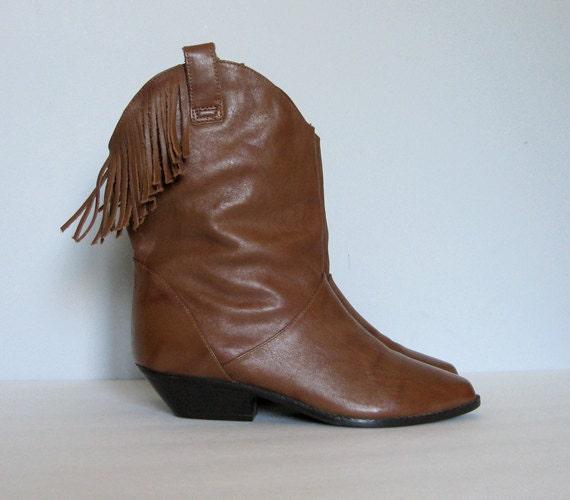Size 7.5 Cognac Leather Boots Fringe Vintage Western Cowboy Boots