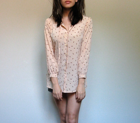 Beige Tunic Top Button Up Tie Floral Print Casual Long Sleeve Summer Shirt - Small S