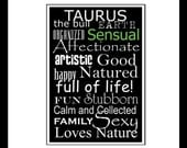 Subway Art Sign Taurus Zodiac Typography Print 5x7 in an 8x10 mat