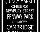 Subway Art Sign Boston Destination Typography Print 11.75x36