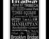 Subway Art Sign New York Destination Typography Print 5x7 in an 8x10 mat