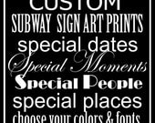 Customized  Subway Sign Art Typography Print 11.73x36