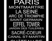 Subway Art Sign Paris Destination Typography Print 11.75x36