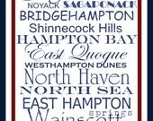 Subway Art Sign The Hamptons Destination Typography Print 10x20