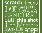 Golf Terms -  Subway Sign Art Typography Print 10x20