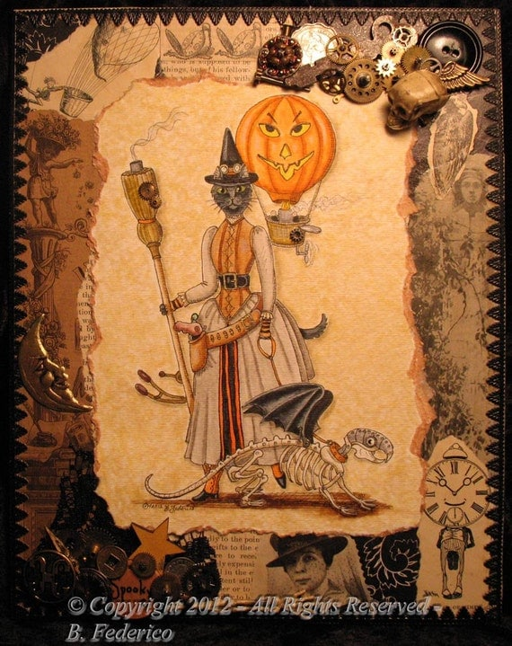 Original STEAMPUNK Screampunk Witchy-Kitty Pen & Ink, Collage, Assemblage
