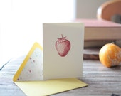 Vintage Strawberry Card - hand stamped