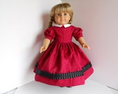 American Girl Red Dress Petticoat Set Doll Dress Historical 1860s 18 Inch Doll Outfit
