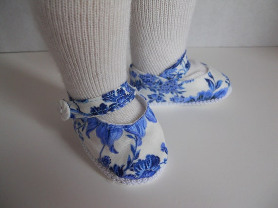 18 Inch American Girl Doll Clothes/Shoes Blue Floral Print Maryjanes