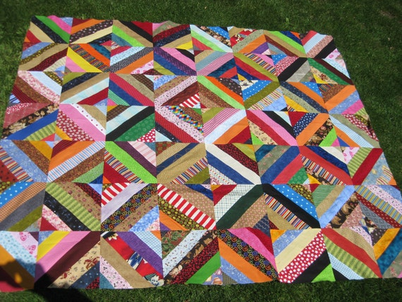 Colorful Scrappy Twisted Blocks Quilt Top