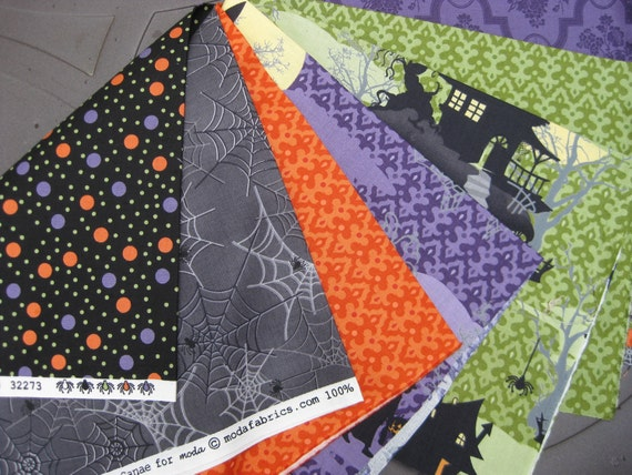 7 Fat Quarters- Haunted Mansion by Sanae for Moda