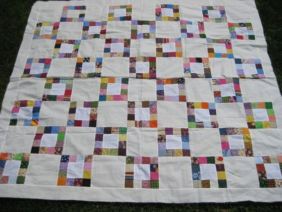 Quilt Top -Colorful Scrappy Blocks