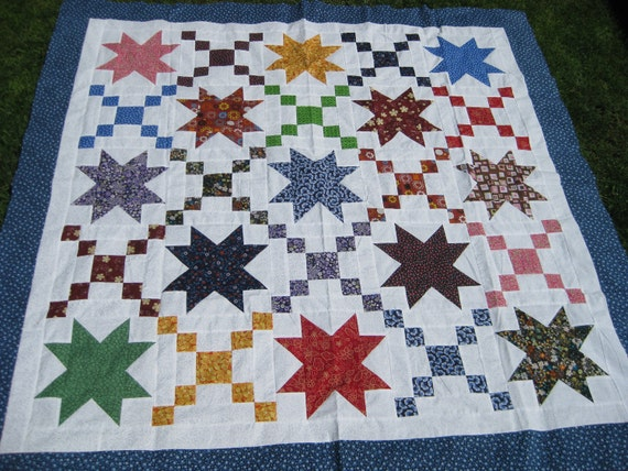 Quilt Top -Colorful Stars Blocks