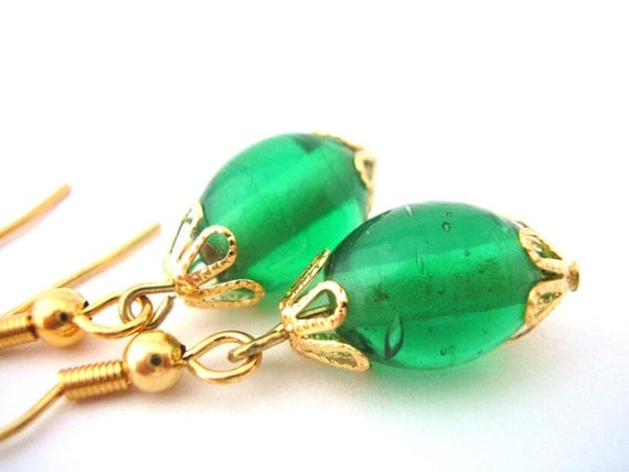 SUMMER CLEARANCE Festive Green Glass and Gold Plated Flower Caps Beaded Earrings