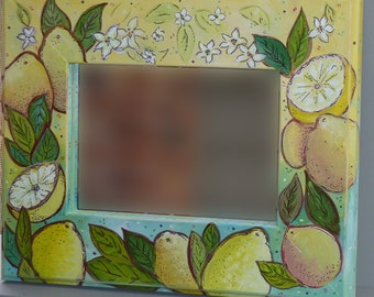 Sweet and Sour Lemon decorative, painted Mirror