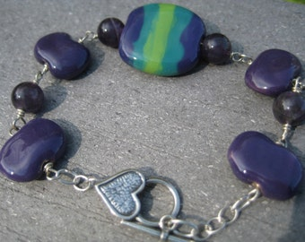 Purple and Green Kazuri Bead and Amethyst Sterling Bracelet