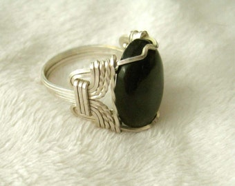 Pharoah's Black ONYX Sterling Wire Wrapped SIZE 7 Ring