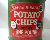 Price Reduced-1940's A and P Jane Parker Potato Chip Tin