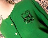frankenstein embroidered cardigan